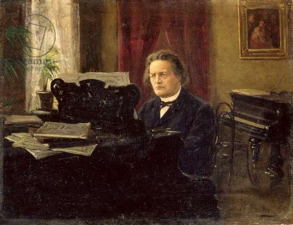 Portrait of Composer Anton Rubinstein (1829-1894) (oil on canvas)