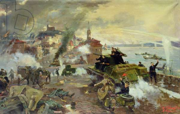 Naval forces at the Battle of Budapest, January 1945, 1948 (oil on canvas)