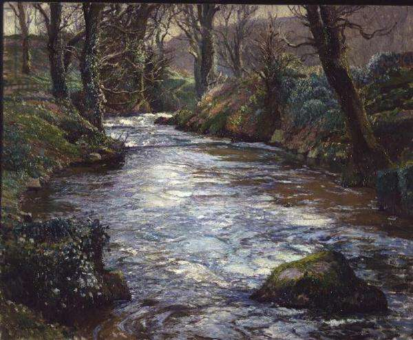 A woodland Cornish river (oil on canvas)