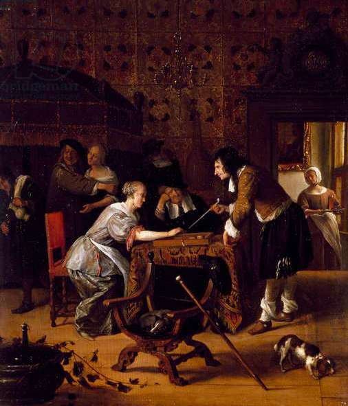 Playing Trick-Track, 1667 (oil on canvas)