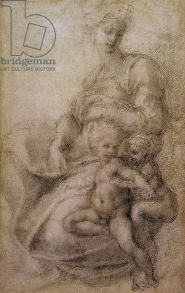 The Virgin and Child with the infant Baptist, c.1530 (black chalk on paper)