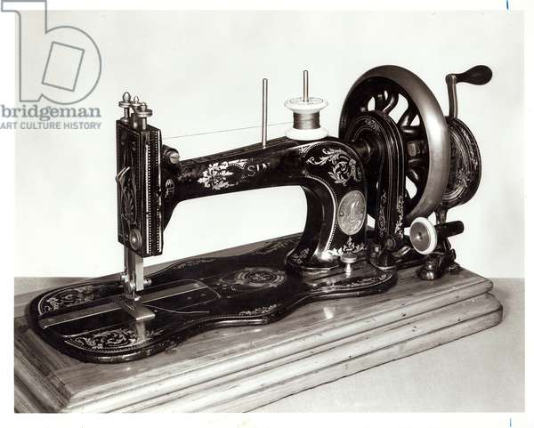 Singer 'New Family' sewing machine, 1865 (cast iron) (b&w photo)