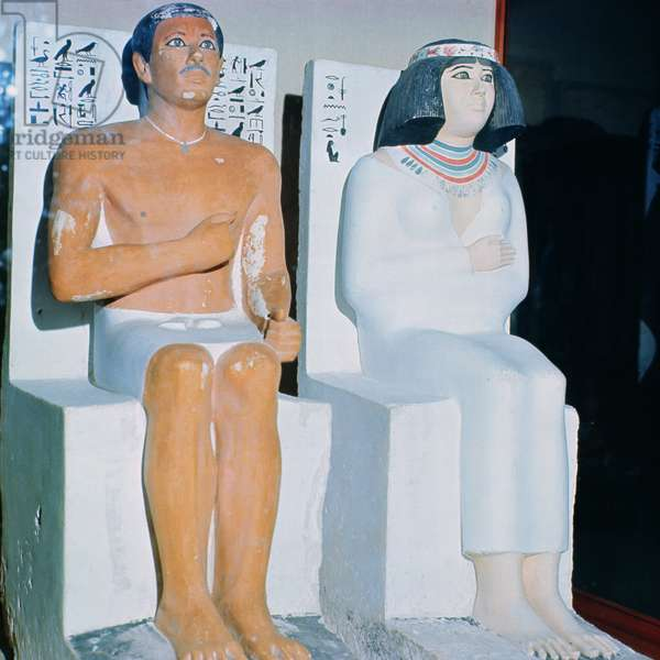 Rahotep and his Wife, Nofret, from Meydum, c.2620 BC (painted limestone)