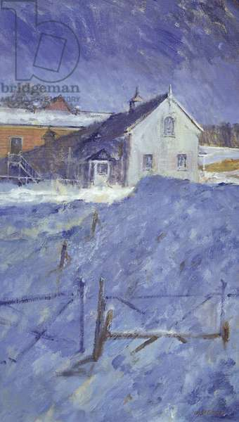 Winter at Silver Lodge (oil on canvas)