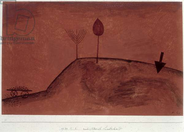 Landscape in afterglow, 1930 (no 242) (w/c & pencil on primed paper on cardboard)