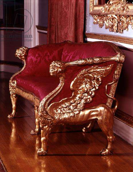 Sofa with winged lion-end supports, c.1760 (see also 148803)