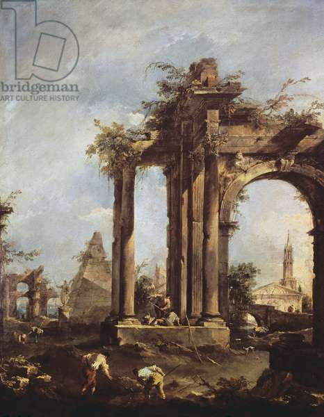 Capriccio with Roman Ruins, a Pyramid and Figures, 1760-70 (oil on canvas)