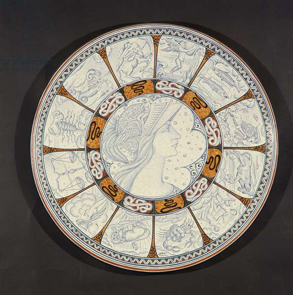 Plate depicting Minerva and Signs of the Zodiac (ceramic)