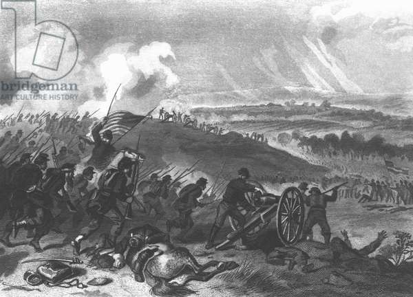 Battle of Gettysburg - Final Charge of the Union Forces at Cemetery Hill, 1863 pub. 1865 (engraving) (b/w photo)