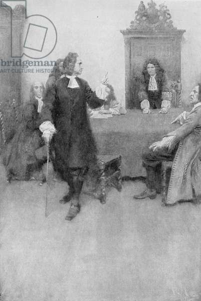 An Interview between Sir Edmund Andros and James Blair illustration from 'Colonies and Nation' by Woodrow Wilson, pub. in Harper's Magazine, 1901 (litho)