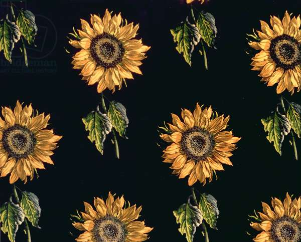 Velours au Sabre: silk decoration of Sunflowers by Maison Ogier and Duplan, Lyon 1894 (textile)