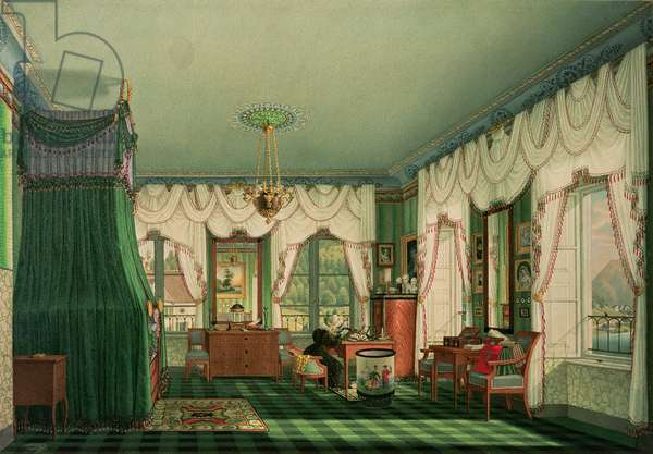 The Bedroom of Elizabeth of Bavaria, Schloss Tegernsee. c.1840 (w/c on paper)