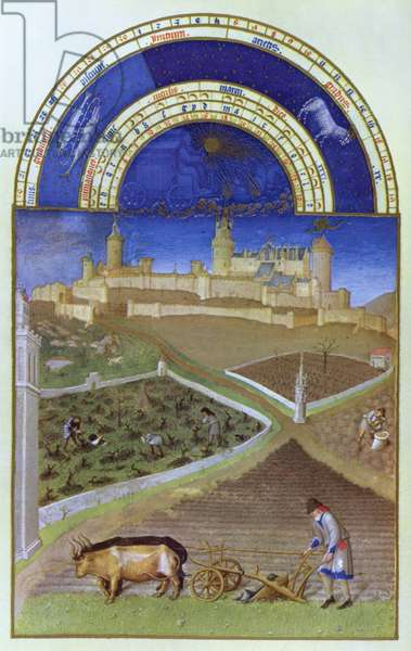 Facsimile of March: Peasants at Work on a Feudal Estate, from the 'Tres Riches Heures du Duc de Berry' (for original see 8435)