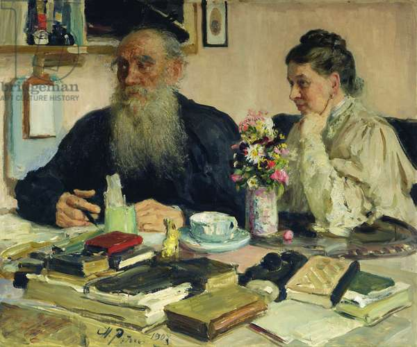 Leo Tolstoy with his wife in Yasnaya Polyana, 1907 (oil on canvas)