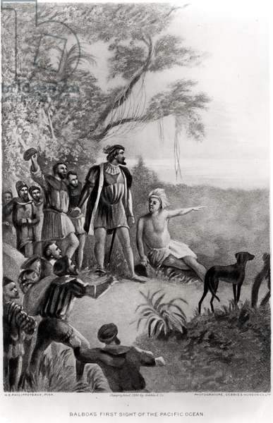 Balboa's First Sight of the Pacific Ocean, 25th September 1513, from 'The American Continent and its Inhabitants before its Discovery by Columbus', 1890 (litho) (b&w photo)