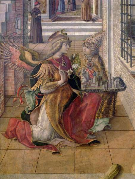 The Annunciation with St. Emidius, detail of the archangel Gabriel with the saint, 1486 (tempera & oil on panel) (detail of 97895)