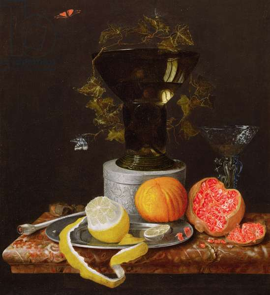A Still Life with a Glass and Fruit on a Ledge