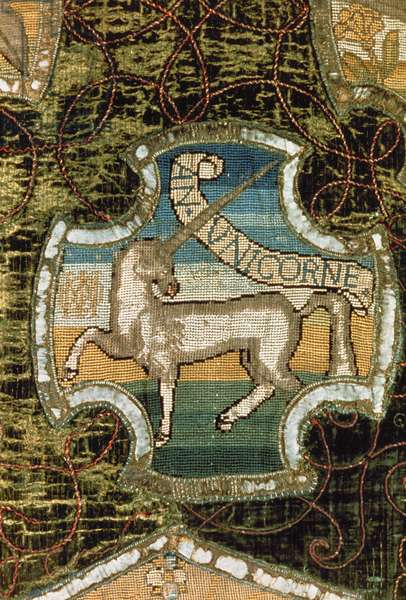 Unicorn, from the Oxburgh Hanging, made by Mary Queen of Scots (1542-87) and Elizabeth Talbot (1520-1608) Countess of Shrewsbury, c.1570 (linen canvas embroidered with gold, silver and silk in tent stitch)