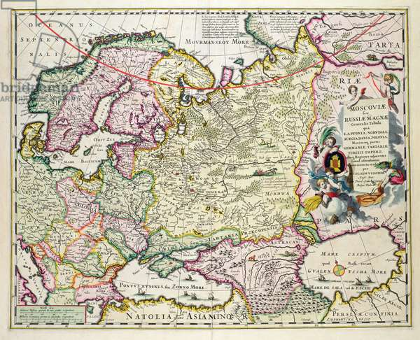 Map of Asia Minor showing Norway, Sweden, Denmark, Lapland, Poland, Turkey, Russia and the Moscow region, c.1626 (hand coloured plate engraving)
