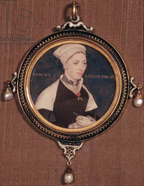 Miniature portrait of Jane Small, formerly known as Mrs. Robert Pemberton, c.1540 (w/c on vellum mounted on playing card)