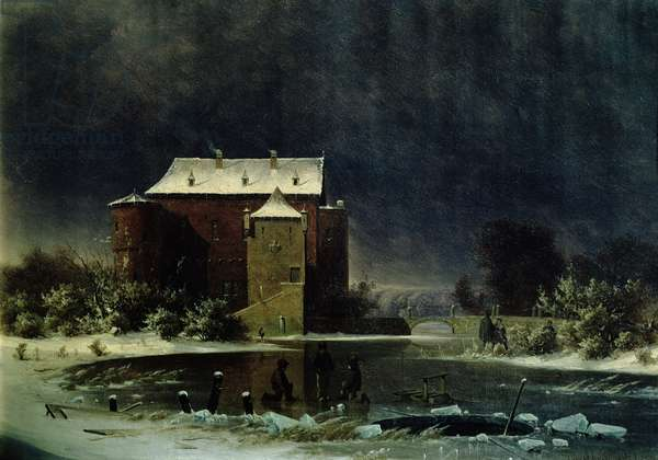 Haunted House in the Snow, 1848 (oil)