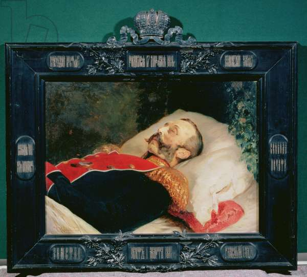 Emperor Alexander II (1818-81) on His Deathbed, 1881 (oil on canvas)