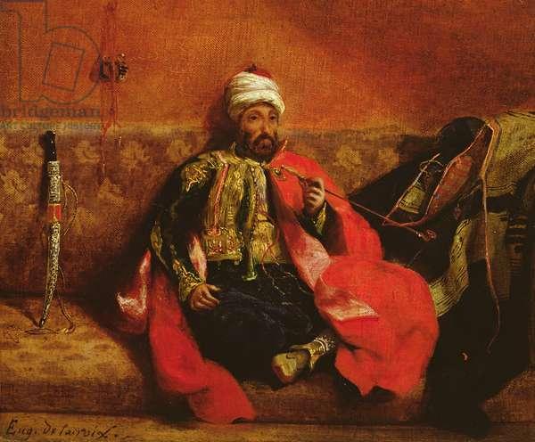 A Turk smoking sitting on a sofa, c.1825 (oil on canvas)