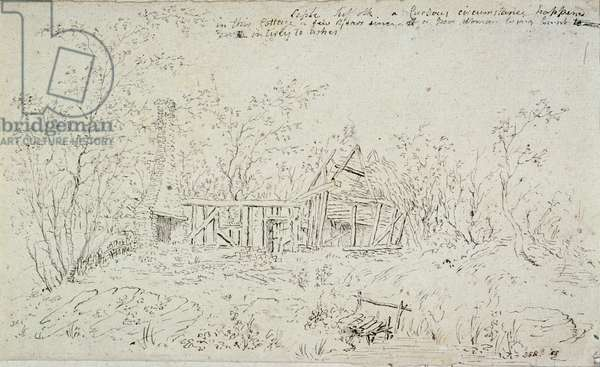 A ruined cottage at Capel, Suffolk, 1796 (pen & ink on paper)