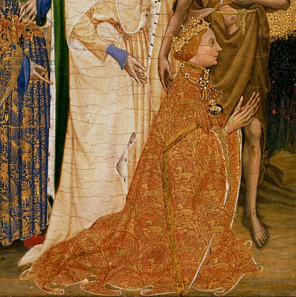 Richard II Presented to the Virgin and Child by his Patron Saint John the Baptist and Saints Edward and Edmund, c.1395-99 (egg tempera on oak) (detail of 3028)