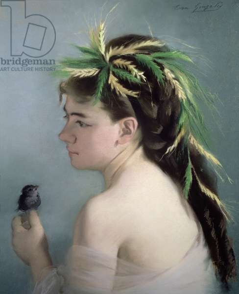 Portrait of a Girl holding a Sparrow (pastel)