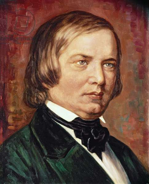 Portrait of Robert Schumann (1810-1856) (oil on canvas)