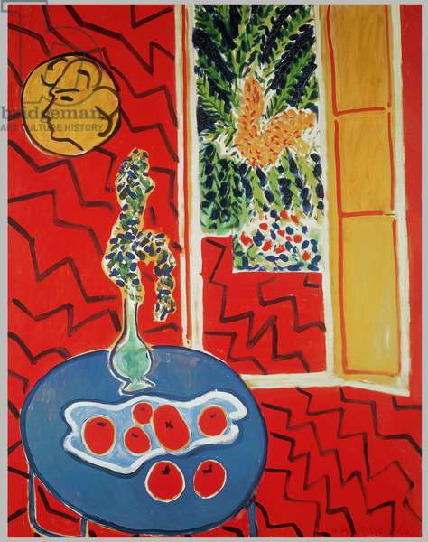 Red Interior: Still Life on a Blue Table, 1947 (oil on canvas)