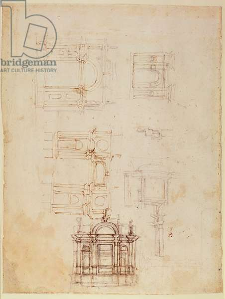 Studies for architectural composition in the form of a triumphal arch, c.1516 (black chalk with pen & brown ink on paper) (recto) (for verso see 191776)