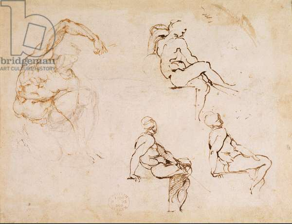 Figure Studies for a Man, (brown ink on paper)