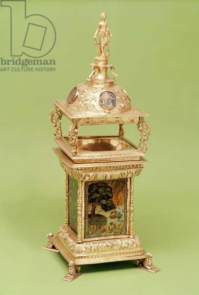 The Vyvyan Salt, 1592-93 (silver-gilt with painted glass)