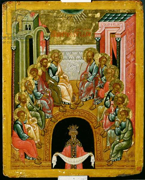 The Descent of the Holy Spirit, Russian icon from the Cathedral of St. Sophia, Novgorod School, 15th century (tempera on canvas)