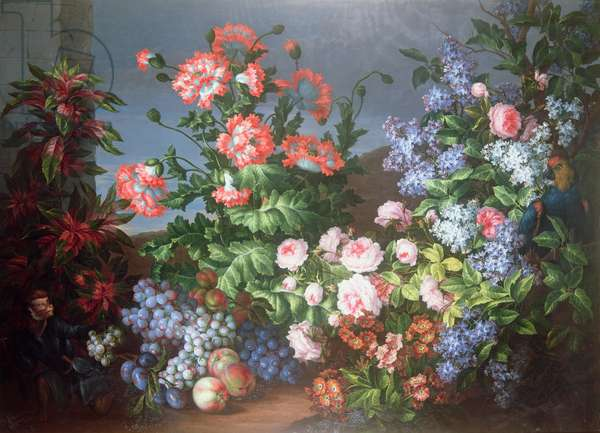 Flowers, fruit with a Monkey and a Parrot (oil on canvas)
