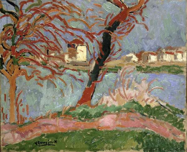 Banks of the Seine at Carrieres-Sur Seine (Spring Time Sunshine), 1906 (oil on canvas)