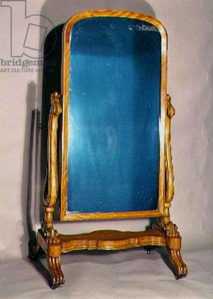 Cheval mirror, birch frame, c.1845
