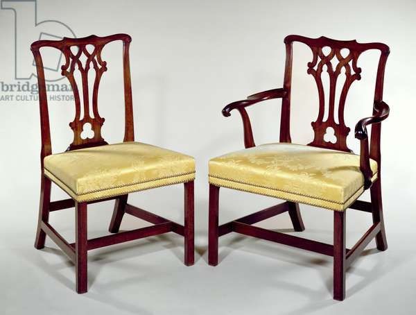 Dining chairs, with interlaced splat backs and square chamfered legs, c.1760 (mahogany)