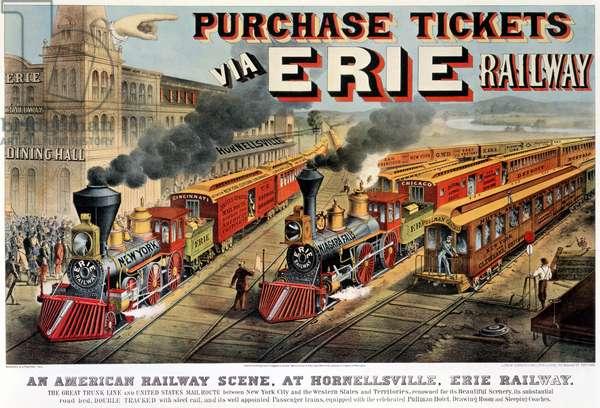 The American Railway Scene at Hornellsville, Erie Railway (print, 1874)