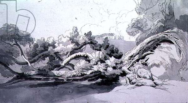 Landscape, with uprooted tree (watercolour)