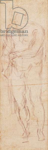 Study for Adam in 'The Expulsion', 1508-12 (charcoal on paper) (recto)