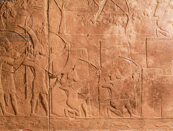 The Siege of Alammu by the army of Sennacherib (704-681 BC) detail from a panel from the South West Palace of Nineveh, c.700 BC (gypsum) (see also 85704)