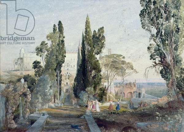 The Villa d'Este, 19th century (watercolour on paper)