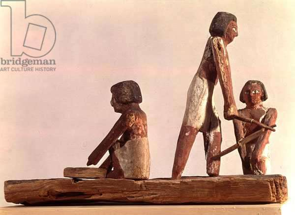 Model of Egyptian brickmakers Kingdom, from Beni Hasan, c.2000 BC (painted