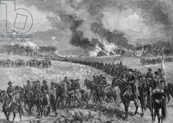 The rear-guard: General Custer's division retiring from Mount Jackson, October 7th 1864, illustration from 'Battles and Leaders of the Civil War', edited by Robert Underwood Johnson and Clarence Clough Buel (engraving)