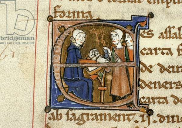 Ms.41 f.82v Paying taxes, from 'Livre Juratiore d'Agen' (vellum)