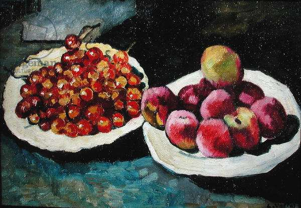 Still Life with Peaches and Cherries (oil on canvas)