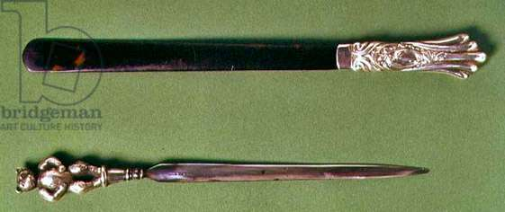 Paper knives, tortoiseshell and silver, late 18th century